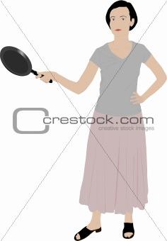 beautiful girl illustration holding a kitchen pan