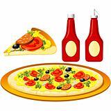 Food series - Italian - pizza and ketchup
