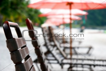 close up of beach chairs