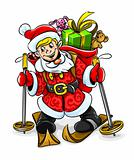 vector Christmas Santa boy with gifts on skis