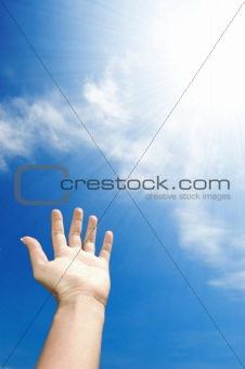 hand towards sky