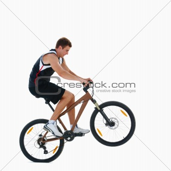 Man cycling on isolated white background