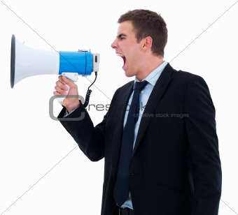 Attention - screaming or shouting in a megaphone isolated on whi