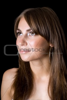 Portrait of the young beauty woman. Isolated on black background