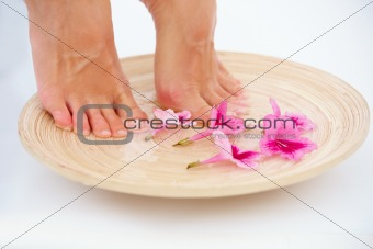 Closeup of a young woman standing in a bowl of flowers isolated
