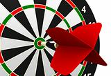 dartboard and flying on white background