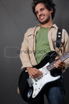 Trendy hispanic guitarist