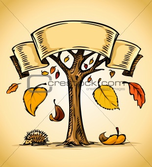 vector autumn tree with yellow falling leaves