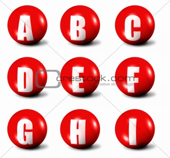 alphabet made of red 3D spheres