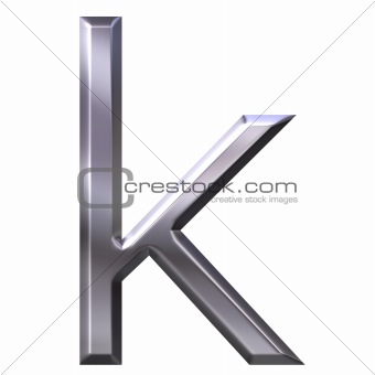 3D Silver Letter k