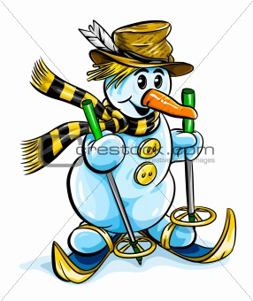 vector winter snowman on skis