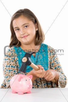 Adorable girl with money box