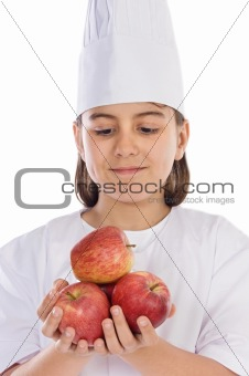 Adorable girl with many apples