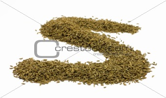 Caraway seeds in S-shape