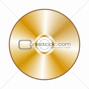 Realistic gold compact disc, isolated in white