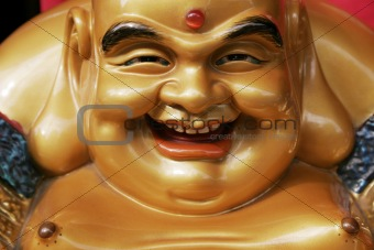Head and Chest of golden smiling Buddha Statue from Japan