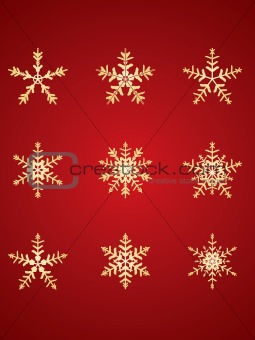 Gold detailed snowflakes