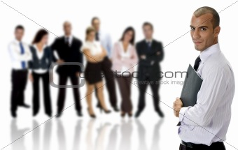 young businessman with folder and group
