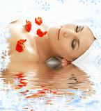 red petals spa with water