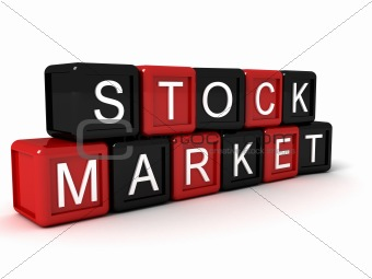 three dimensional stock market text on building blocks