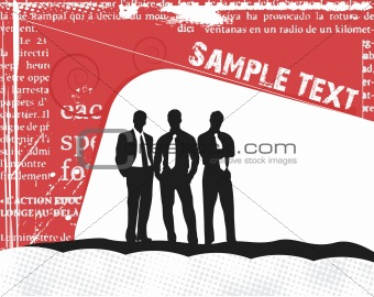 Business silhouettes on the sample text