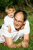 father and son outdoor portrait