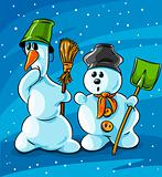 surprised vector winter snowmen with cleaning tools