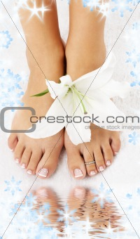 feet with madonna lily and water