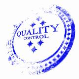 blue quality control stamp