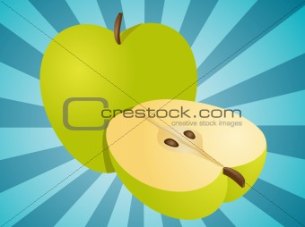 Apple whole and half illustration