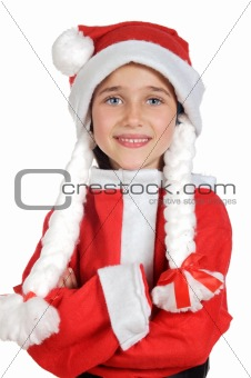 Beautiful little girl dressed in Santa Claus