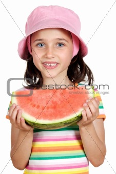 Adorable little girl with a big piece of watermelon