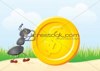 Ant and coin