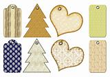Christmas gift tags of different forms.