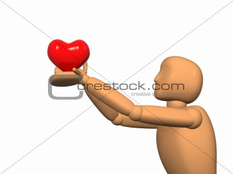 3D doll - puppet with heart in hands