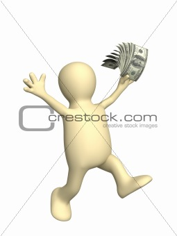 3d puppet with dollars in a hand