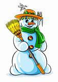 vector winter snowman with broom