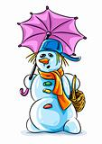vector winter snowman with pink umbrella