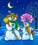 vector winter snowmen with broom pink umbrella