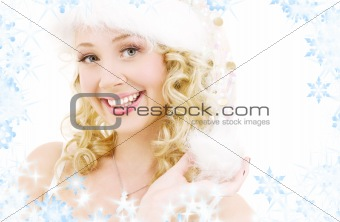 cheerful santa helper girl