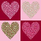 Four Bubble Filled Hearts