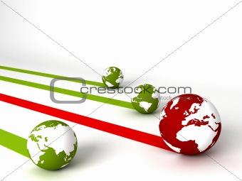 display of profit and loss globes