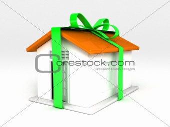 three dimensional home with green ribbon