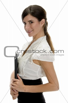 side view of smiling lady with files