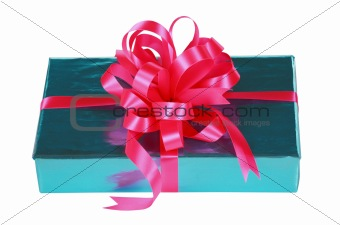 Sky blue present with pink bow