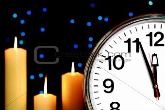 Clock set at three minutes to midnight