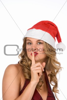 Blonde Mrs Santa Claus ask for silence please!