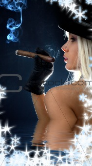 cigar girl in water