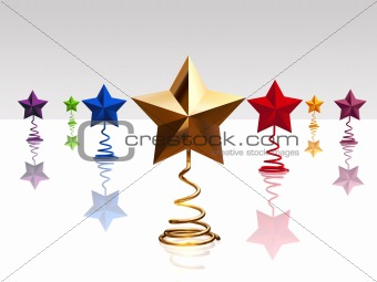 3d christmas colour stars