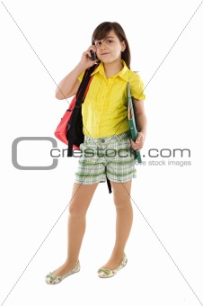 Beautiful girl student speaking by phone